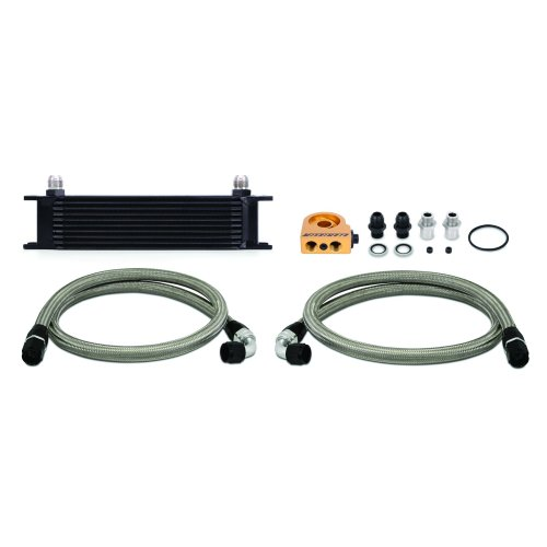 Mishimoto MMOC-UTBK 10-Row Universal Oil Cooler Kit, Black Thermostatic