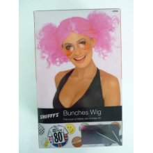 80s Bunches Wig, Pink -  wig bunches pink 80s smiffys fancy dress costume 1980s