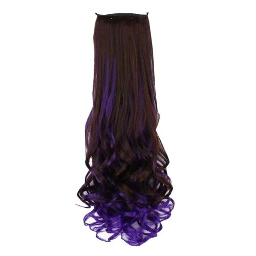 Long Curly Wave Black and Purple Women Hair Extension