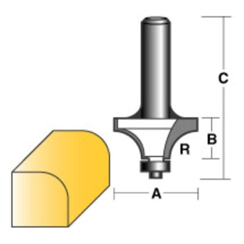 "CARBITOOL ROUND OVER ROUTER BIT 3/8"" W/BEARING 1/4"" SHANK"