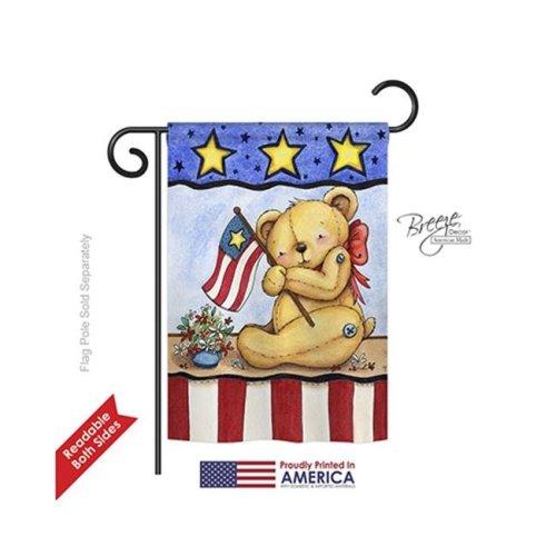 Breeze Decor 61006 Patriotic Pat Bear 2-Sided Impression Garden Flag - 13 x 18.5 in.