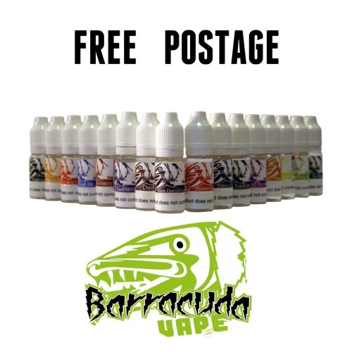 Barracuda E-Liquid Vape Juice 10ml 0mg/6mg/12mg/18mg - Fruity/Tobacco Flavours - All Flavours , UK Manufactured & Fully TPD Compliant