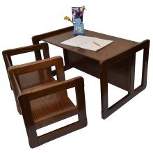 Obique Multifunctional Furniture: 2 Chairs & 1 Large Table, Dark
