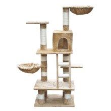Cat Play Tree 122 cm Beige Plush