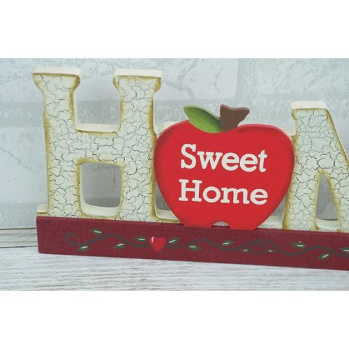 Plaque Home Sweet Home Block Cut Out Sign Apple