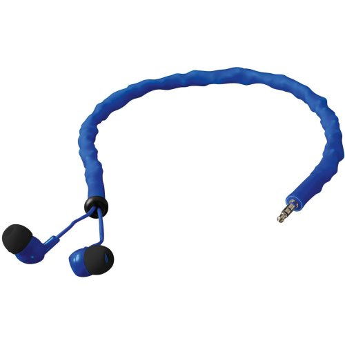 Blue Earbud Headphones Tangle Free By Cord Cruncher