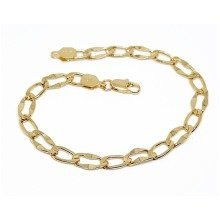 New 9 CT Gold Filled Hammered Link Bracelet for Mens 22x6MM B29