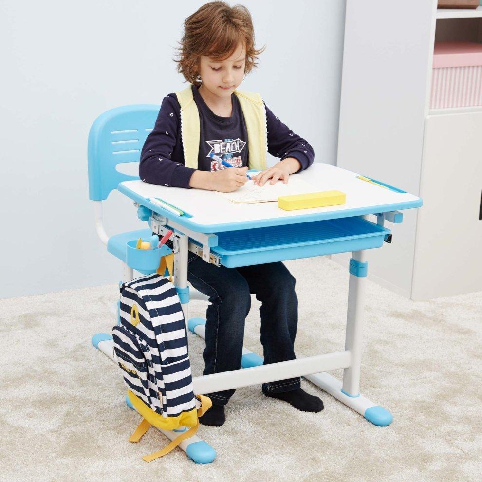 Ergonomic Kids Desk Chair Height Adjule Children Table Mini Blue 3