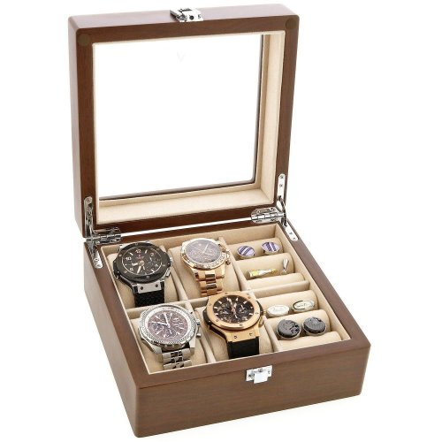 Natural Walnut Watch and Cufflink Collectors Box for 4 Wrist Watches plus 4 Pairs Cufflink by Aevitas