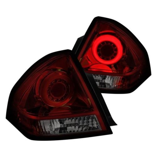 Spec D Tuning LT-IPA06RGLED-TM Red & Smoke Halo Style Fiber Optic LED Tail Lights for 2006-2013 Chevy Impala