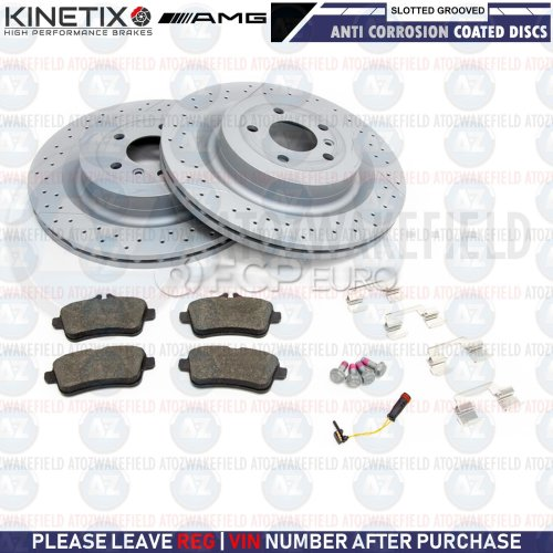 FOR MERCEDES BENZ GLE63 AMG REAR SLOTTED & GROOVED BRAKE DISCS PADS WIRE 345mm