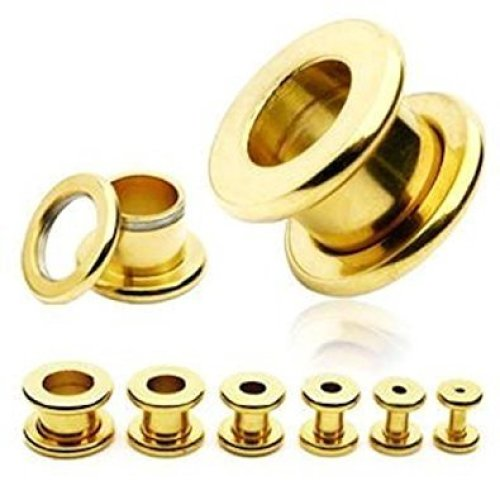 Gold Plated Surgical Steel Screw Fit Hollow Ear Tunnel Saddle Plug Piercing Finest Quality Materials