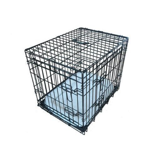Ellie-Bo Deluxe Extra Strong 2 Door Folding Dog Puppy Cage with Faux Sheepskin Bed Medium 30 inch Black
