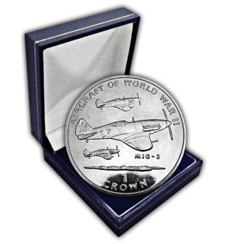 Isle of Man 1995 Aircraft of WWII - Mig-3 Unc. Cupro Nickel Coin in a box