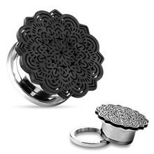 Black Plated Tribal Flower Topped Surgical Steel Flesh Tunnel Ear Saddle Plug Piercing Jewelllery