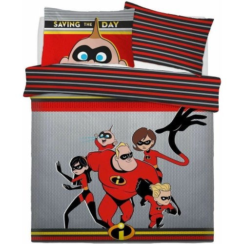 Official Disney The Incredibles Reversible Duvet Cover with Matching Pillow Case Bedding Set