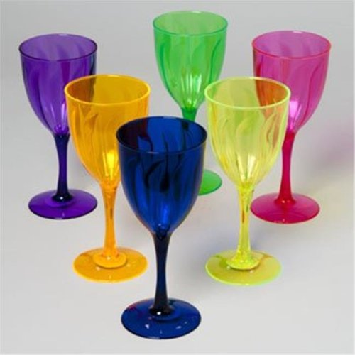 RGP 24102P Wine Glass Plastic 6 Colors 14 Oz In Pdq Bpa Free, Pack Of 48