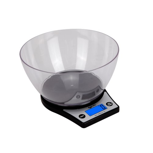 Kabalo Black Kitchen Scales With Bowl Household Food Cooking Weighing Scale 5kg capacity 5000g/1g
