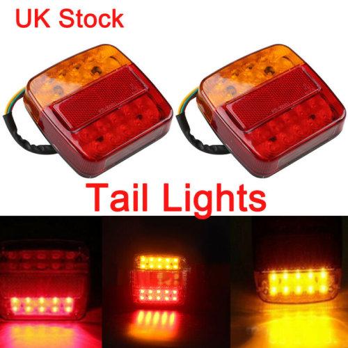 2X Rear Stop Tail Brake Indicator LED Light Red Amber Trailer Van Truck Lamp 12V