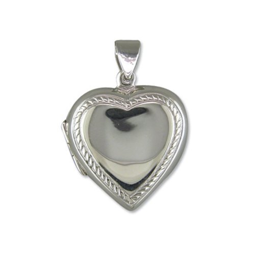 Childrens Sterling Silver Plain Heart With Rope Edge Locket On A Curb Necklace