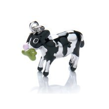 925 Sterling Silver Enamel Friesian Cow Charm Clip on. Royal London.