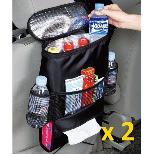 Kabalo Car Seat Organiser Tidy With Cool Insulated Cooler Bag Tissue Drinks Holder - Double Pack