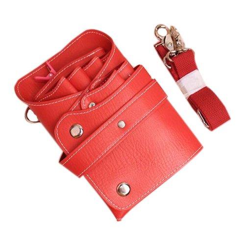 Hair Scissors Bag Hair Durable Comb Package Hair Stylist Pockets, Red