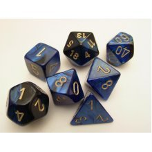Chessex Gemini Polydice Set - Black-Blue/Gold