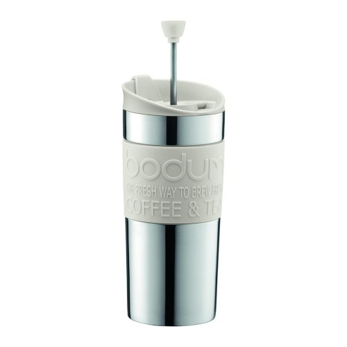 BODUM Travel French Press Coffee Maker, Vacuum, Small, 0.35 L - Off-White