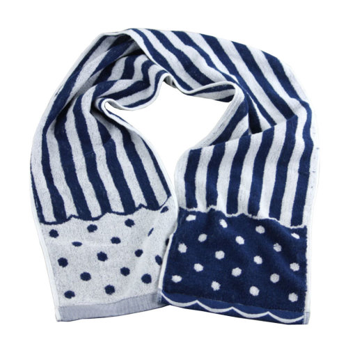 """[NAVY] Cute Stripe and Dot Cotton Active-Dry Gym/ Workout Towel, 7.9""""x 46"""""""