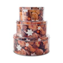 Set of Three Round Metal Christmas Cookie Design Food Storage Tins