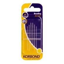 Pack Of 6 Beading Needles -  korbond beading needles tapestry cross stitch crewel embroidery size 1012