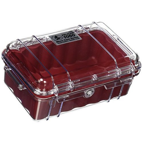 Pelican 1050 Micro Case, Red with Clear Lid