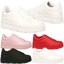 Cambridge Womens Flat Lace Up Chunky Flatform Trainers Ladies Creepers Shoes New
