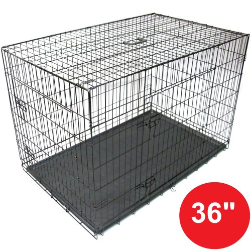 """Gr8 Home  Black 36"""" Pet Cages Metal Dog Cat Puppy Carrier Crate Tray"""