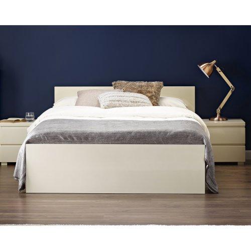 Double Bed Frame Base 4ft6 Bedstead Headboard Footboard High Gloss Cream Bedroom