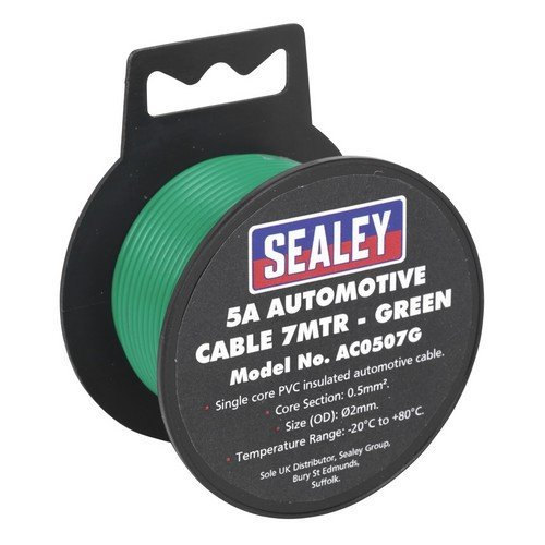 Sealey AC0507G Automotive Cable 5A 7mtr Green