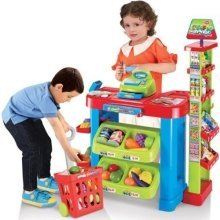 deAO Supermarket Playset Food Stall Kids Role Play Kitchen Game Set
