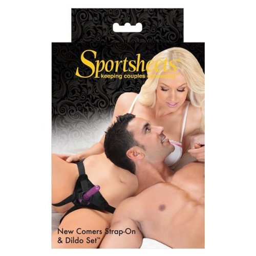 "Sportsheets Strap On New Comers Harness and Silicone 5.75"" Dildo set Purple"