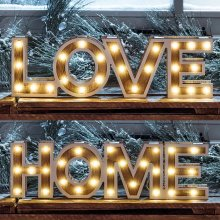28 Warm White LED Lights in a Wooden Sign