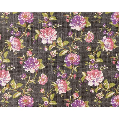 EDEM 603-94 design non-woven floral wallpaper brown pink green 10.65 sqm