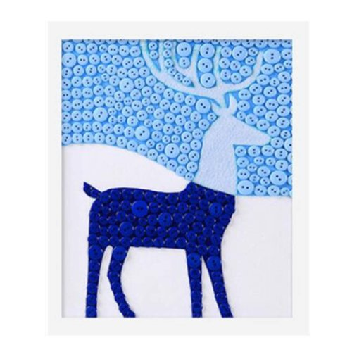 Creative Deer DIY Button Painting Mosaic Craft for Kids
