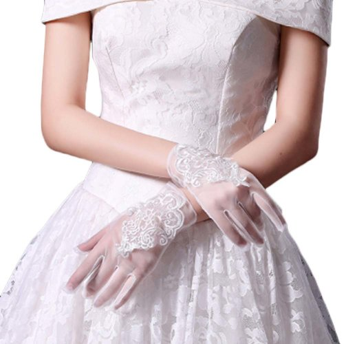 Bridal Wedding Gloves Party Dress Lace Short Gloves B08