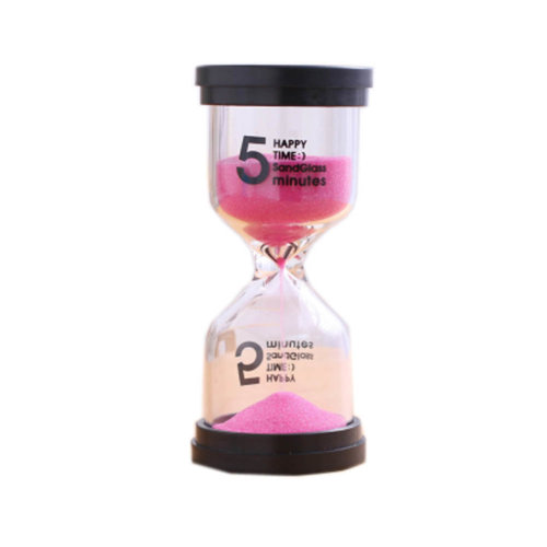 Colorful Sand Timer Hourglass Sandglass Small Ornaments Dropping Ueasily, 5 minutes + Pink