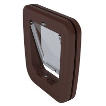 Brown Glass & Wood Classic Pet Door Cat Flap